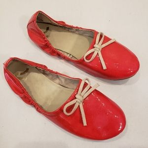 Report Red Patent Scrunch Ballet Flats